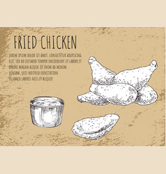 Fried chicken with barbecue sauce sketch poster vector