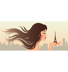 Girl and the Eiffel Tower vector image