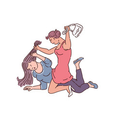 Girl fight between two women - drawing vector