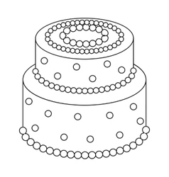 Green cake with yellow dots icon in outline style vector