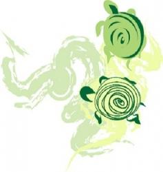 green turtles vector image vector image