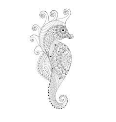 Hand drawn Sea Horse for adult coloring pages in vector