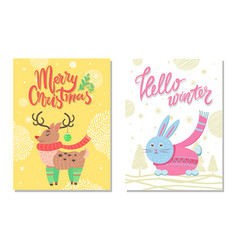 hello winter postcard with rabbit and reindeer vector image