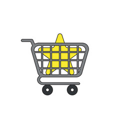 icon concept star inside shopping cart vector image