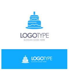 Indian cake day country blue solid logo with vector