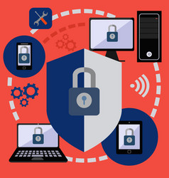 internet security and data protection for digital vector image