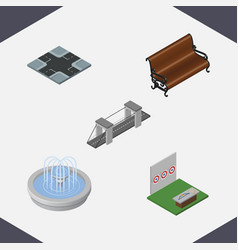 isometric street set of aiming game highway vector image