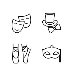 line theatre icons set on white background vector image