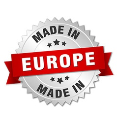 made in europe silver badge with red ribbon vector image