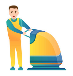 Man use floor cleaning device icon cartoon style vector