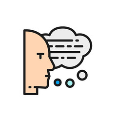 man with speech bubbles thoughts reading aloud vector image