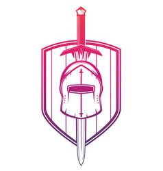 medieval helmet sword and shield on white vector image