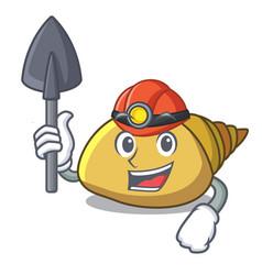 Miner mollusk shell mascot cartoon vector