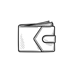 modern wallet hand drawn outline doodle icon vector image