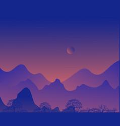 Morning twilight silhouette vector