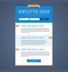 Newsletter page design vector image