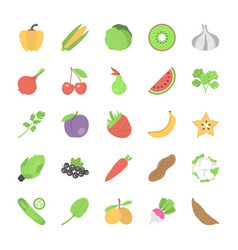 pack of fruits and vegetables flat icons vector image