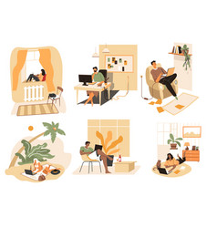 people at home using laptops and modern vector image
