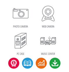 photo camera pc case and music center icons vector image