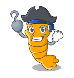 Pirate shrimps on a character cartoon style vector