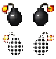 Pixel vintage cartoon style pirate bomb on white vector