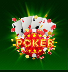 poker casino banner signboard background vector image