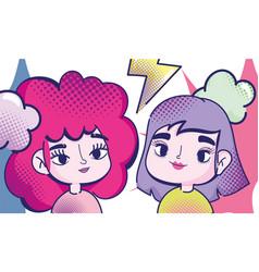 pop art cartoon girls colored hairs thunderbolt vector image