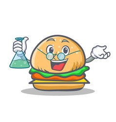 Professor burger character fast food vector