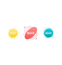 Quiz game signs stickers labels vector