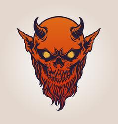 Red devil satan horn with beard vector
