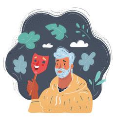 sad man holding smiley mask vector image