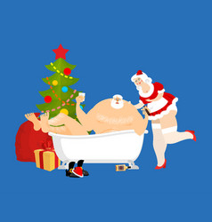 santa claus relaxes in bath new year and christmas vector image