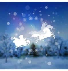 Santa Riding Sleigh Christmas Background vector image