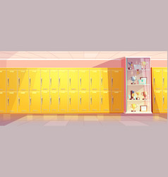 school hallway with showcase for trophies vector image