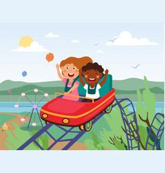 schoolmates riding roller coaster happy laughing vector image
