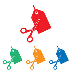 scissors cutting price tag icon vector image