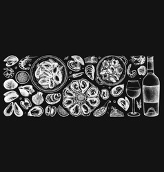 seafood and wine collection on chalkboard hand dr vector image