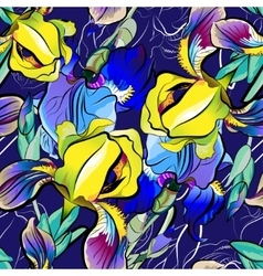 Seamless pattern of blue irises yellow vector image