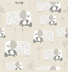 Seamless pattern with cute mom and baby elephant vector