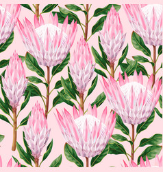 Seamless pattern with high detailed protea vector