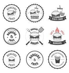 set burger and fries restaurant design elements vector image