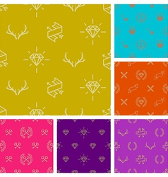 set hipster style seamless background vector image