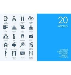 Set of BLUE HAMSTER Library wedding icons vector