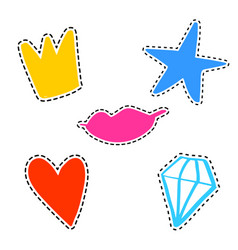 set of girl fashion patches cute cartoon vector image
