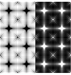 set of textures of black and white squares vector image
