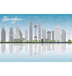 Shanghai skyline with blue sky grey skyscrapers vector