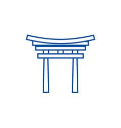 Shinto line icon concept shinto flat vector