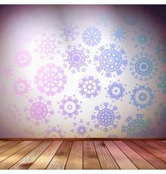 Snowflakes in blue room EPS 10 vector