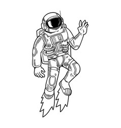 Spaceman which flying up design vector