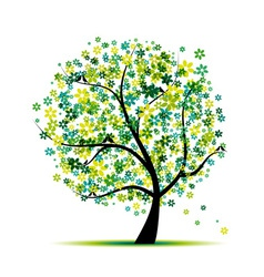 Spring Floral Tree vector image